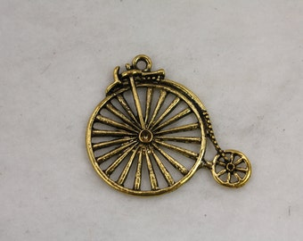 10 pcs Big Wheel Vintage Bicycle Circus Charm Gold Plate