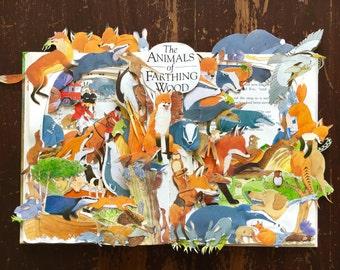 Animals of Farthing Wood - Book Sculpture - Handmade
