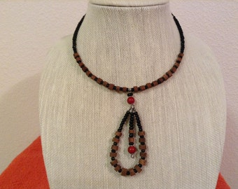AfricanArena  Handmade Wooden Brown Beads Black Seed Beads Jewelry Necklace AA119