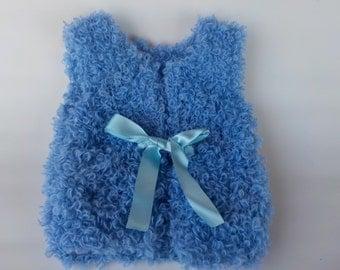 Blue hand knitted girls Vest - Knitted vest - Little girl vest