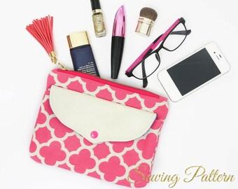 Purse Pattern, Clutch Pattern, Clutch Purse Pattern, Sewing Pattern PDF, Cosmetics Clutch Pattern, Makeup Purse Pattern, Wristlet SHIELDB901