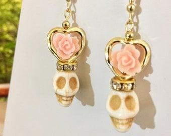 Day of the Dead Sugar Skull Peach Flower