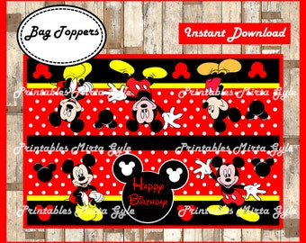 Mickey Mouse Bags Topper, printable Mickey Mouse party Bags Topper, Mickey box
