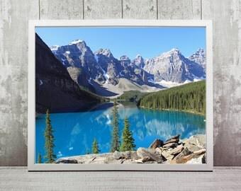 Banff National Park Print, Instant Download, Wall Print, Home Decor, National Park, Canada, Moraine Lake, Wall Art, Travel Prints