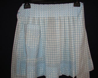 Vintage Light Blue and White Gingham Apron With Cross Stitching