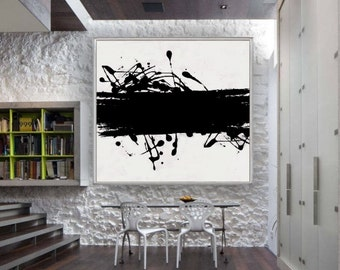 Abstract Acrylic Painting Hand Painted Square Black and White Abstract Artwork Modern Painting on Canvas. Several Sizes Available.