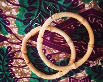 Natural Bamboo Hoop Earrings