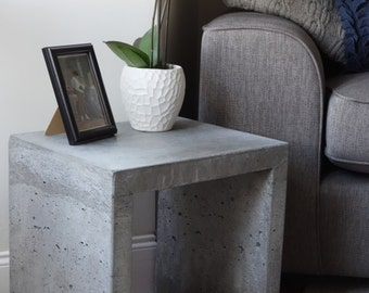 solid concrete side table