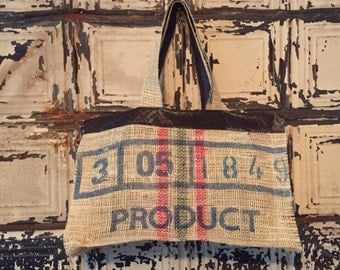 Burlap Coffee Bean Bag Tote/Purse with Faux Leather Detail