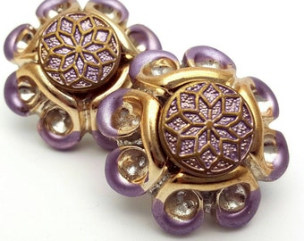 Fancy Round Large Resin Stud Earrings Vintage from the 80s Purple and Gold