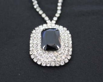 Vintage 1960's Crystal & Onyx Rhinestone Necklace