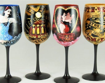 6 piece Moulin Rouge wine glass set