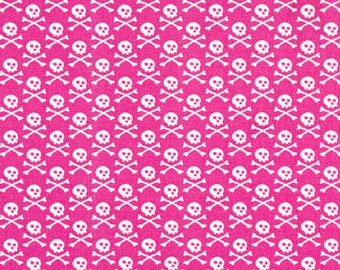 3-1/2 yards Premier Prints Crossbones Candy Pink-White