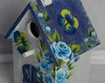 Church style Birdhouse blue One stroke roses, butterfly