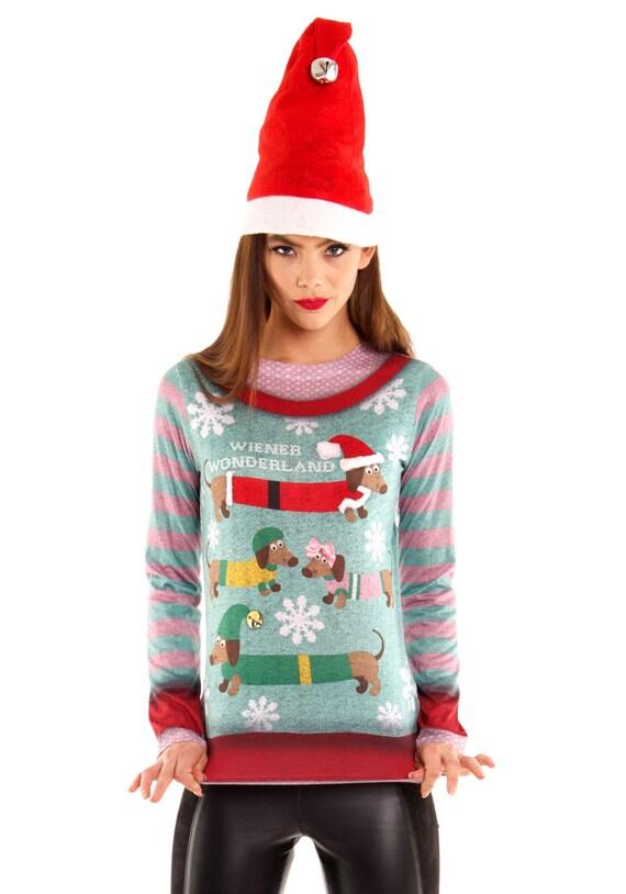 weiner dog pug Dachshund ugly tacky Merry Christmas Sweater Xmas X Mas Misletoe Santa Claus Baby Its Cold Outside Womens Long Sleeve T Shirt