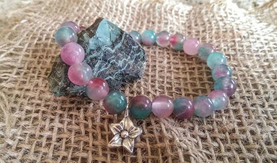 Agate Stretchy Handmade Semi Precious Stones Round Beaded Bracelet