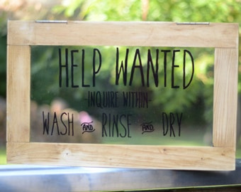 Hand Painted Help Wanted Sign for Kitchen