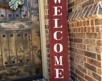"Rustic Welcome Sign 58"" tall, Welcome sign for Front Porch, Front Porch decor, Wood Sign, Rustic Wood Sign, Vertical Wood Welcome Sign"