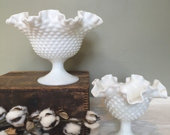 Large Fenton hobnail crimped milk glass footed bowl