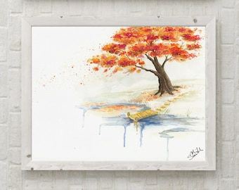 Original Fall Tree by the water watercolor painting- Unframed, abstract art, fall colors, autumn, seasonal decor, wall art,