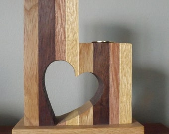 Wooden Heart Cut-Out Candle Holder