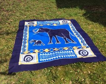 Batik - Tagesdecke\ Wandbehang - Elefant blau