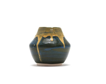 Hand Thrown Vase with Dark Blue and Canary Glaze
