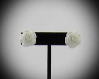 Large White Rose Resin Earrings