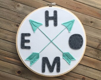 HOME embroidery hoop art