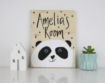Panda Personalised Wooden Room Sign