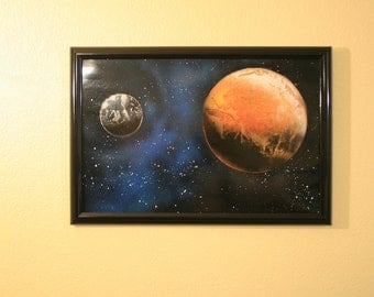 Two Planet Space Painting - Spray Can Art - 12 in x 18 in