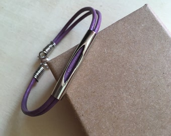 String (limited edition) Purple Leather Bracelet silver noodle