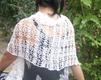 "Lacy Evening Shawl ""Leaves of Spring""; White Cotton: Handmade;"