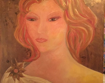 Goddess. Surreal original signed in acrylic on canvas