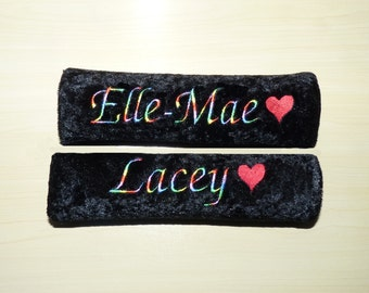 2 x Black Personalised Embroidered Seat Belt Pad/Cover Red Heart