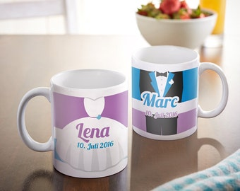 Set of 2 Coffee Mugs - For Bride and Groom - Personalised with Names and Date