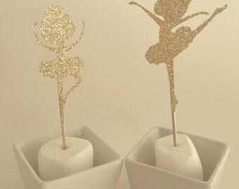 Glitter Ballerina Cupcake Toppers • Birthday Cupcake Toppers • Baby Shower Cupcake Toppers