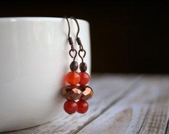 Agate Copper Beaded Earrings, Agate Beaded Earrings, Copper Beaded Earrings, Orange Dangle Earrings, Orange Beaded Earrings, Boho Earrings