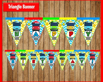 Tayo the Little Bus Triangle Banner instant download, Printable Tayo the Little Bus party Banner, Tayo the Little Bus Banner