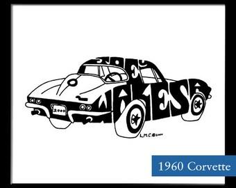 Personalized Silhouette 1960's Corvette