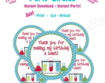 Science Birthday Party  Favor Tags -- Instant Download -   Printable Science Favor Tags