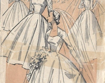 1950s Vintage Sewing Pattern B34 BRIDE'S WEDDING DRESS (1404R) Weldons 27
