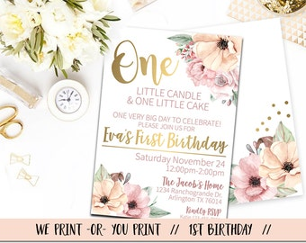 First Birthday Invitation, Floral First Birthday, Girl First Birthday Invitation, One little Candle Birthday, Gold Pink Birthday, 1st Bday