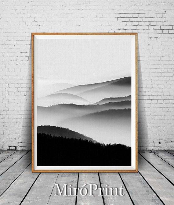 Berg-Print Nebel Wandkunst Wohnzimmer Dekor Berg Wand von MiroPrint