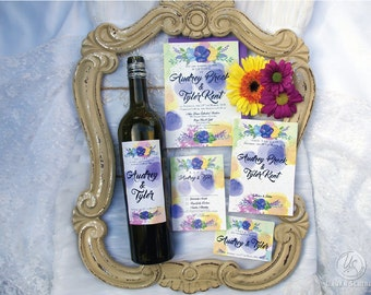 Glamorous Modern Wedding Wine Label