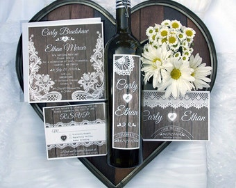 Rustic Lace Wedding Wine Label