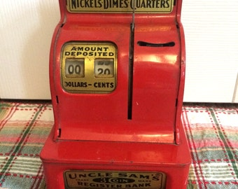 Vintage Uncle Sam Three Coin Register Bank, Red Metal Child's Savings Bank, Nickels, Dimes, Quarters