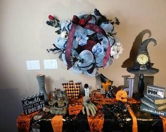 Halloween Wreath Tim Burton Corpse Bride Decorations Indoor Outdoor Door Decor Corpse Bride Inspired