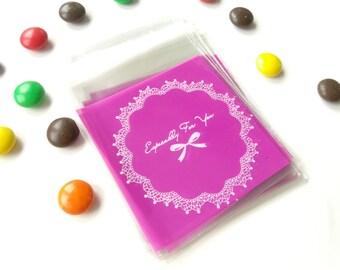10 mini transparent purple 7x7cm gift bags pouches