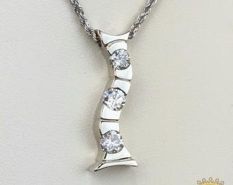 Custom 14kt White Gold Diamond Journey Pendant